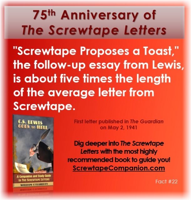 screwtapes essay Noyes, shelley evangelical theology 3/9/07 the screwtape essay in the screwtape letters, cs lewis proposes a dialog between a senior administrative devil/tempter and a graduate fresh out of the tempters training college for young devils.