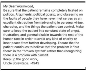 Fake Screwtape on Politics